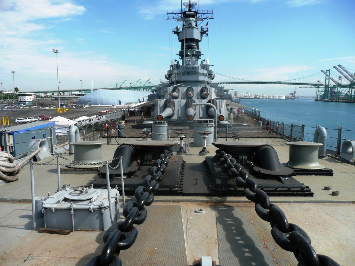 Battleship Iowa Museum Los Angeles Anchor Chains With The Gun Turrets In Background